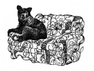 bear on couch ink drawing by Marcela Vargas